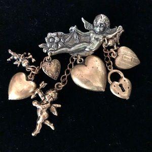Vintage Dangling Cherubs and Hearts Brooch Pin
